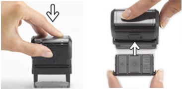 How do I replace the Deluxe Stamp ink cartridges
